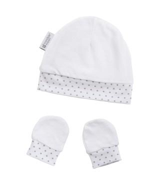Bonnet & moufles naissance étoiles