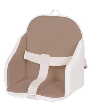 Coussin de chaise PVC avec sangles taupe/blanc