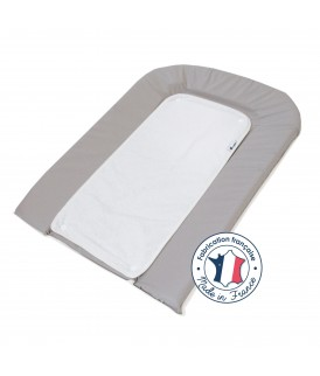 Matelas à langer PVC gris + 2 éponges pressionnées blanches