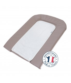 PVC changing mat 45x71 cm brownish Grey + 2 White terry towels with press studs