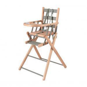 Chaise haute pliante SARAH bicolore bois et gris